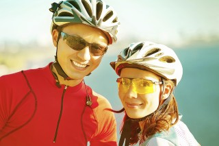 happy couple on bicycles